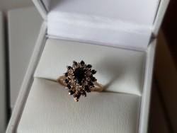 Antik  arany  gyűrű zafír/brill
