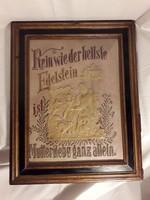 Antik apáca munka szent ereklye fali kép keretezett üveg mögött