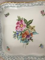 Herendi áttört szegélyű kínáló tál Bouquet de Saxe  ,virágcsokor mintával!