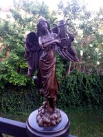 Zenélő angyal - bronz szobor műtárgy