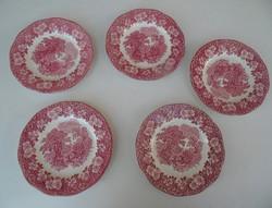 5 darab Angol,jelenetes porcelàn tányér...... Wedwood pótlásra