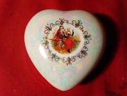 1222 Pordelán jelenetes ékszertartó bonbonier szív alakú 9 cm