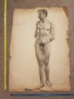 Furcsa beállítású férfiakt, kb.43x60
