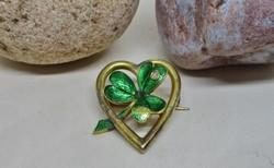 Szépséges antik lóhere arany bross gyémánt kővel