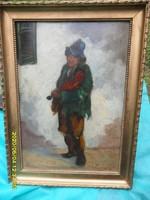 Varga I:Hegedülő cigány zenész fiú antik jelzett olaj kép.