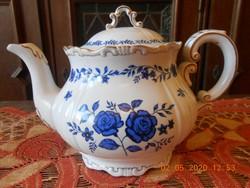 Zsolnay ritka kék rózsás tea kiöntő, teás kanna