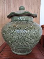 Szeladon mázas, csodaszép kínai váza.