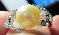 925 ezüst gyűrű, 17,5/66 mm, tenyésztett gyönggyel, CZ-kkel