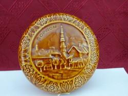 Gránit porcelán bonbonier, Sopron felirattal, átmérője 14 cm, magassága 5 cm.