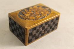 Antik száz éves kézzel faragott fa ékszertartó doboz 5