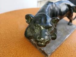 Oroszlán szobor ón , spiáter figura kisplasztika. Szép kidolgozású vadász, vadász téma!