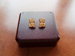 14 k arany fülbevaló /cica, macska /