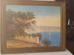 FRANCIA RIVIERA  olaj6farost régi francia festmény 43x34 cm