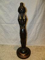 Antik nagy méretű faragott fa szobor,lámpa test.