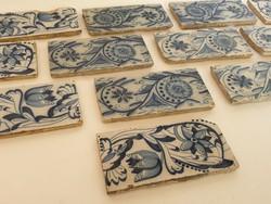 XVIII. századi kézzel festett antik keret csempe 13 db