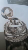 Álom szép art deco, vastag falú üvegpalack angol nemesi címeres kupakkal