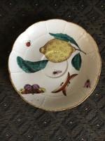 Óherendi (antik Herendi) gyümölcs mintás kistányér / csészealj - citromos, katicás