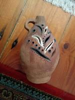 áttört mázatlan cserép régi kerámia butélia, korsó antique look ceramic jar