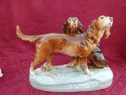 ROYAL DUX  csehszlovák porcelán kutyapár.  Vitrin minőség.