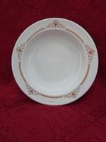 Alföldi porcelán mélytányér, barna motívummal, átmérője 22 cm.