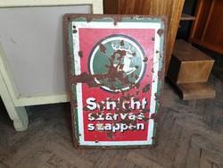 Régi Schicht szarvas szappan zománctábla vintage zománcozott tábla reklámtábla