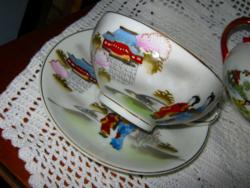 Gésás  japán tojáshéj porcelán csésze és tányér
