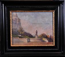 Háry Gyula (1864-1946): Budapesti látkép a Halászbástyával és a Hunyadi szoborral