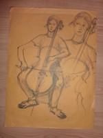 Zenélő lány, papír tus, ismeretlen