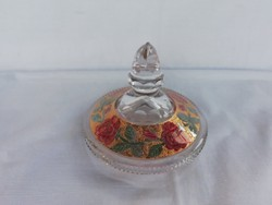 Régi virágmintás  bonbonier-díszüveg tető