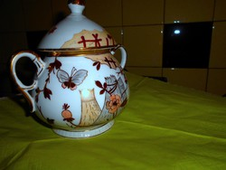 Antique traditional Japanese pattern hand painted porcelain large size sugar bowl