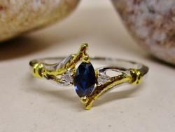 Szépséges valódi zafír,és gyémánt ezüst gyűrű