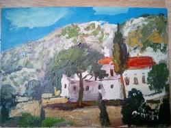 Görögország tájkép olajfestmény, festmény