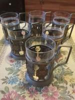 Szamovárhoz 6db pohár réz tartóval