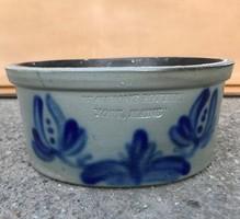 York Maine ritka kézműves festett kőagyag edény tál kaspó USA 1950 évek