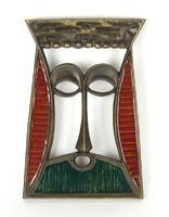 1A281 Zoltán: Jelzett bronz relief király fej 24 cm