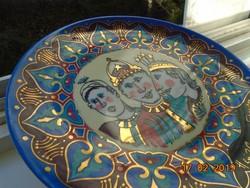 Kézzel festett,aranyozott Bibliai 3 király modern változata,dísztál