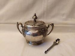 Gyönyörű Ezüst 800 cukortartó ajándék ezüst cukorfogóval!
