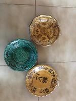 3 db magyar népi kerámia tál fali tál tányér felakasztható