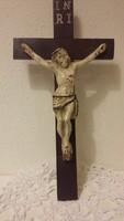 Jézus, korpusz, kereszt, feszület,  antik, festett, ajándék imafüzetekkel, imalapokkal