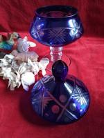 Kristály talpas fedeles kínáló, kék kristály bonbonier, hibátlan állapotban