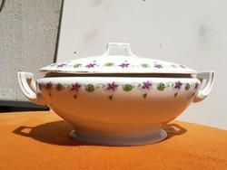 Szecessziós  ibolyás leveses tál, virágokkal használatra akár a századfordulórol!