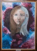 Olajfestmény, kasírozott vászon, keretben. 70 cm x 50 cm