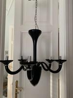 Fekete modern vonalú muránoi csillár és 2db falikar harmadáron