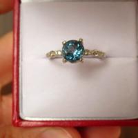 Kuriózum! Londoni kék topáz gyűrű brillcsiszolás ezüst