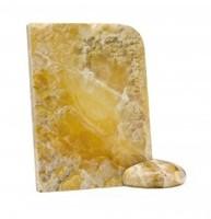 Ritka sárga Onix féldrágakő, francia art deco könyvtámasz, antik ékszer, onix féldrágako lap (1 db)