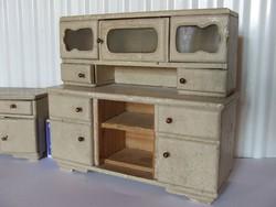Régi, antik fából készült mini bababútor, baba szekrény, konyhaszekrény, kredenc