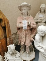 Szent Vendelt ábrázoló festett gipsz szobor