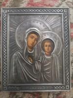 Antik orosz cári ezűst ikon Kazányi Istenanya szentpétervár