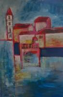 Pálinkás Éva Keresztül a hídon Olajfestmény.      100x70 cm