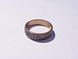Pro partria 1914 kívül vas, belül arany gyűrű